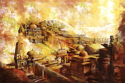 Temple Painting - Udaipur Kambalgarh Fort by Catf