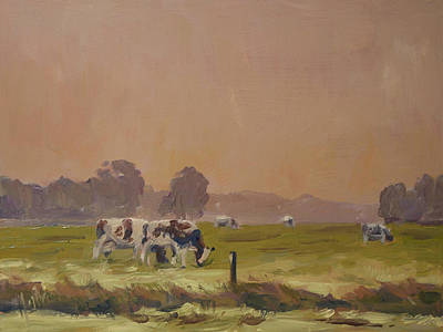 Fog Painting - Udenhout Fog Cows by Nop Briex