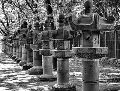 Photograph - Ueno Park Stone Lanterns by Robert Meyers-Lussier
