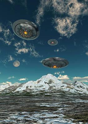 Ufos Flying Over A Mountain Range Art Print by Mark Stevenson