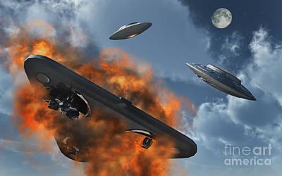 Destruction Digital Art - Ufos From Different Alien Races by Stocktrek Images