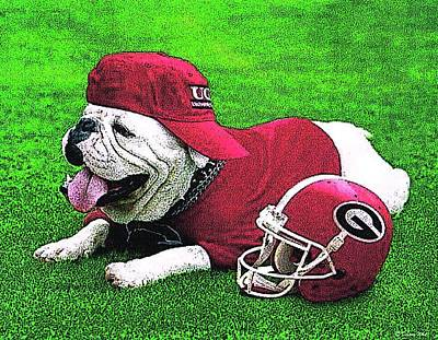 Uga With Helmet T-shirt Art Print by Herb Strobino