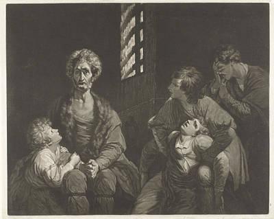 Dungeon Drawing - Ugolino Conte Della Gherardesca Dies With Three Of His Sons by Artokoloro