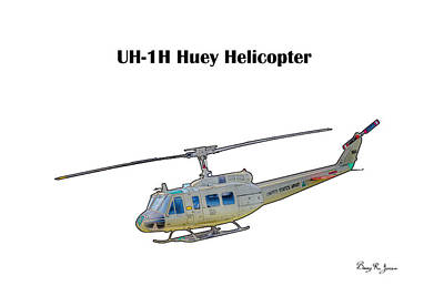Digital Art - Uh-ih Huey Helicopter by Barry Jones