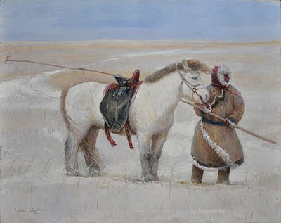Painting - Ujumchin Herdsmen In Winter Pastures by Ji-qun Chen