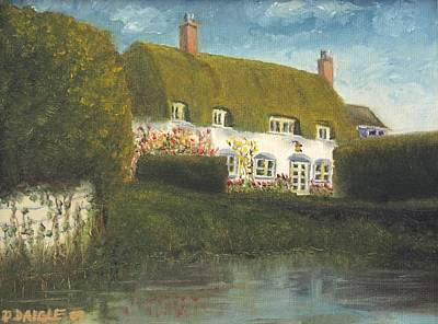 Art Print featuring the painting Uk Cottage by Diane Daigle