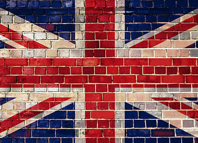 Digital Art - Uk Flag On A Brick Wall by Steve Ball
