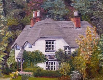 Art Print featuring the painting Uk Thatched Cottage by Diane Daigle