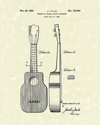 Drawing - Ukelele 1940 Patent Art by Prior Art Design