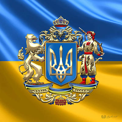 Digital Art - Ukraine - Proposed Greater Coat Of Arms Over Ukrainian Flag by Serge Averbukh