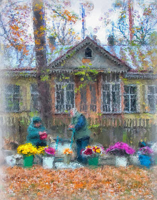 Babushka Digital Art - Ukrainian Fall by Brian Orlovich