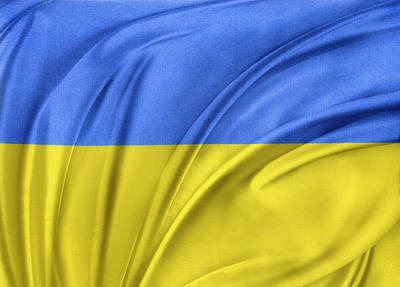 Waving Flag Photograph - Ukrainian Flag by Les Cunliffe