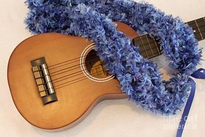 Ukulele Photograph - Ukulele And Blue Ribbon Lei by Mary Deal