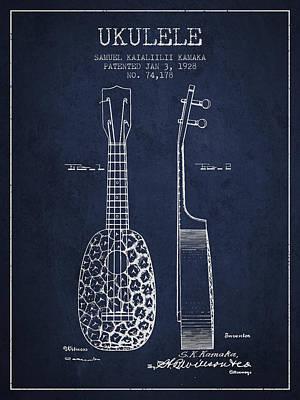 Ukulele Digital Art - Ukulele Patent Drawing From 1928 - Navy Blue by Aged Pixel