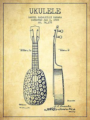 Ukulele Digital Art - Ukulele Patent Drawing From 1928 - Vintage by Aged Pixel