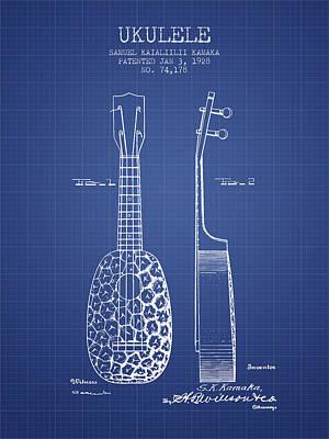 Ukulele Digital Art - Ukulele Patent From 1928 - Blueprint by Aged Pixel
