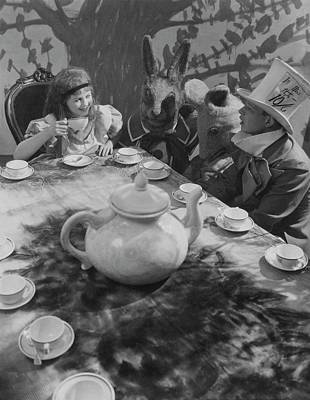 Mad Hatter Photograph - Ula Sharon And Carl Randall Re-enacting Scene by Edward Steichen