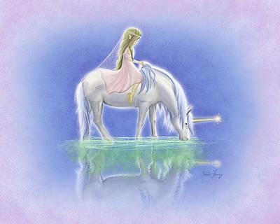 Unicorn Painting - Ulani The Unicorn Elf by Amanda Francey