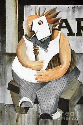 Tin Whistle Painting - Ulic With His Uilleann Pipes by Val Byrne