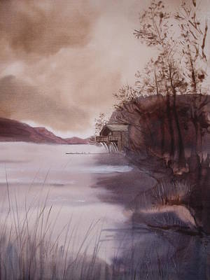 Painting - Ullswater Boathouse English Lake District  by Hazel Millington