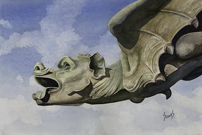 Painting - Ulmer Munster Gargoyle by Sam Sidders