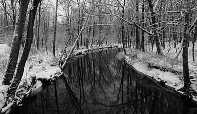 Photograph - Ultra Rez Winter Stream 2 Black And White by Clint Buhler