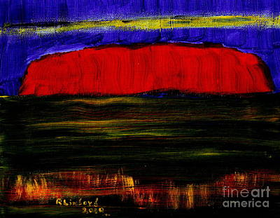 Painting - Uluru Ayres Rock Australia Sacred Rock. by Richard W Linford