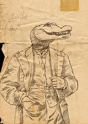 Pen And Ink Drawing Drawing - General Alligator by H James Hoff