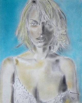 Quinten Tarentino Drawing - Uma Thurman Portrait by Dan Twyman