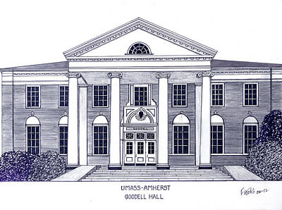 Drawing - Umass Amherst by Frederic Kohli
