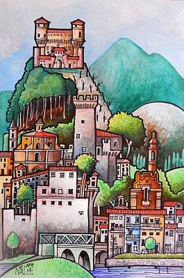 Rocca Painting - Umbertide By The Tiber by Neal Winfield