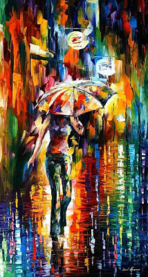 Umbrella 2 - Palette Knife Oil Painting On Canvas By Leonid Afremov Original by Leonid Afremov