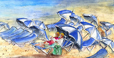 Canary Drawing - Umbrella Beach by Miki De Goodaboom