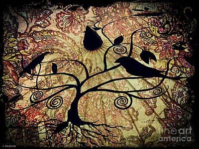 Umbrella Birds Art Print