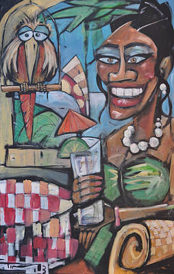 Jamaican Woman Painting - Umbrella Drink by Tim Nyberg