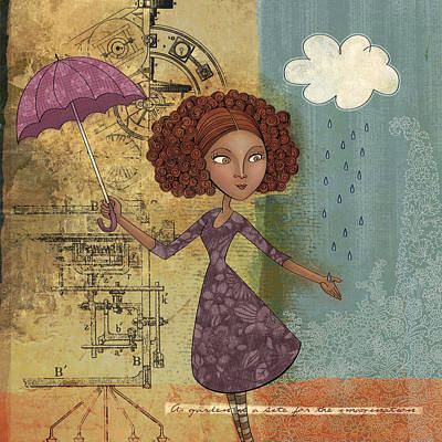 Collage Drawing - Umbrella Girl by Karyn Lewis Bonfiglio