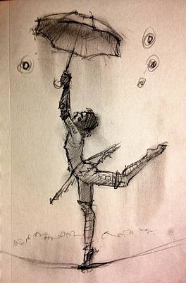 Theater Drawing - Umbrella by H James Hoff