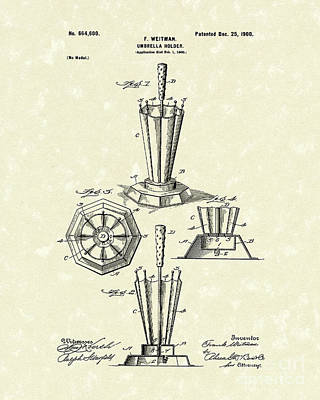 Drawing - Umbrella Holder 1900 Patent Art by Prior Art Design