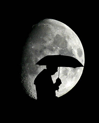 Umbrella Man With Moon Art Print by Christopher McKenzie