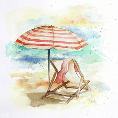 Umbrellas Digital Art - Umbrella On The Beach II by Patricia Pinto