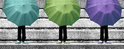 Umbrella Trio Art Print by Lisa Knechtel