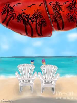 Umbrella View Art Print by Christine Fournier