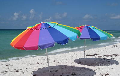 Tropical Wall Art - Photograph - Umbrellas In The Sand by Megan Cohen