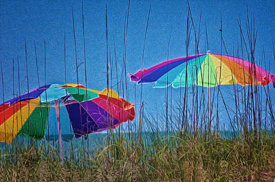 Digital Art - Umbrellas On Sanibel Island Beach by Georgianne Giese