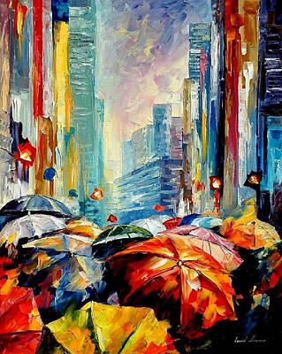 Free Painting - Umbrellas - Palette Knife Oil Painting On Canvas By Leonid Afremov by Leonid Afremov