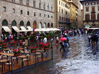 Photograph - Umbrellas - Piazza De La Signoria - Florence by Jacqueline M Lewis