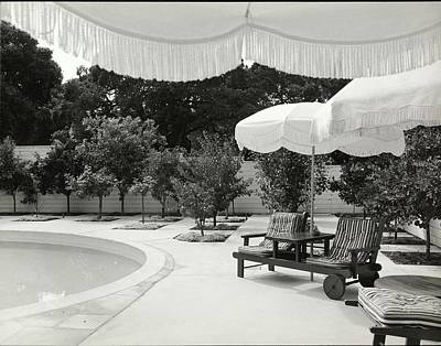 Deck Chair Photograph - Umbrellas Poolside by Fred Lyon