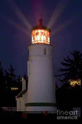 Book Quotes - Umpqua River Lighthouse at Night by Rick Pisio