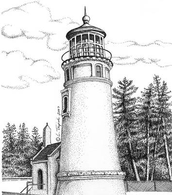 Drawing - Umpqua River Lighthouse by Lawrence Tripoli