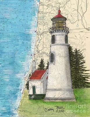 Oregon Lighthouse Painting - Umpqua River Lighthouse Or Nautical Chart Map Art Cathy Peek by Cathy Peek